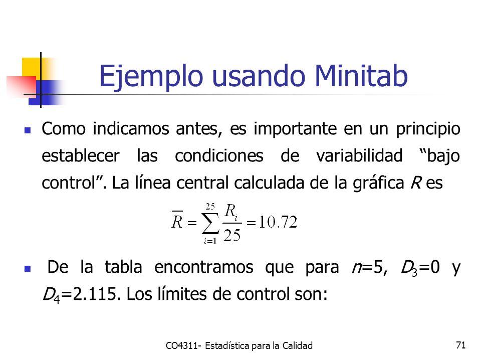 71 Ejemplo usando Minitab Como indicamos antes, es importante en un principio establecer las condiciones de variabilidad bajo control. La línea centra