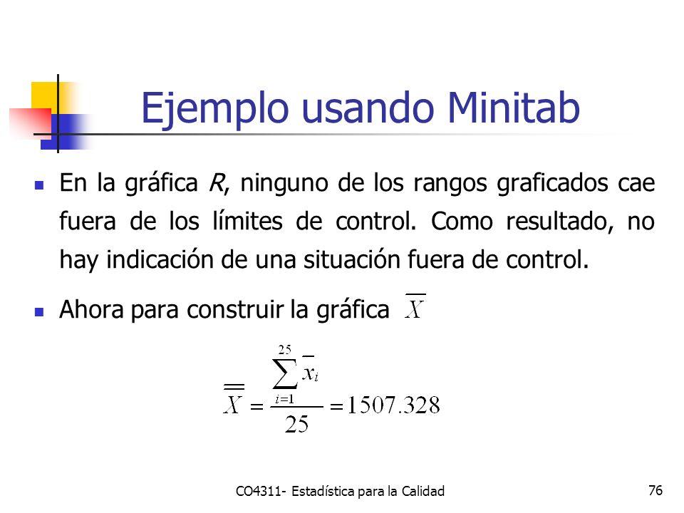 76 Ejemplo usando Minitab CO4311- Estadística para la Calidad En la gráfica R, ninguno de los rangos graficados cae fuera de los límites de control. C