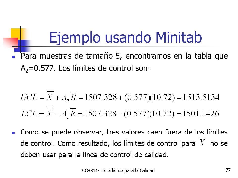 77 Ejemplo usando Minitab CO4311- Estadística para la Calidad Para muestras de tamaño 5, encontramos en la tabla que A 2 =0.577. Los límites de contro