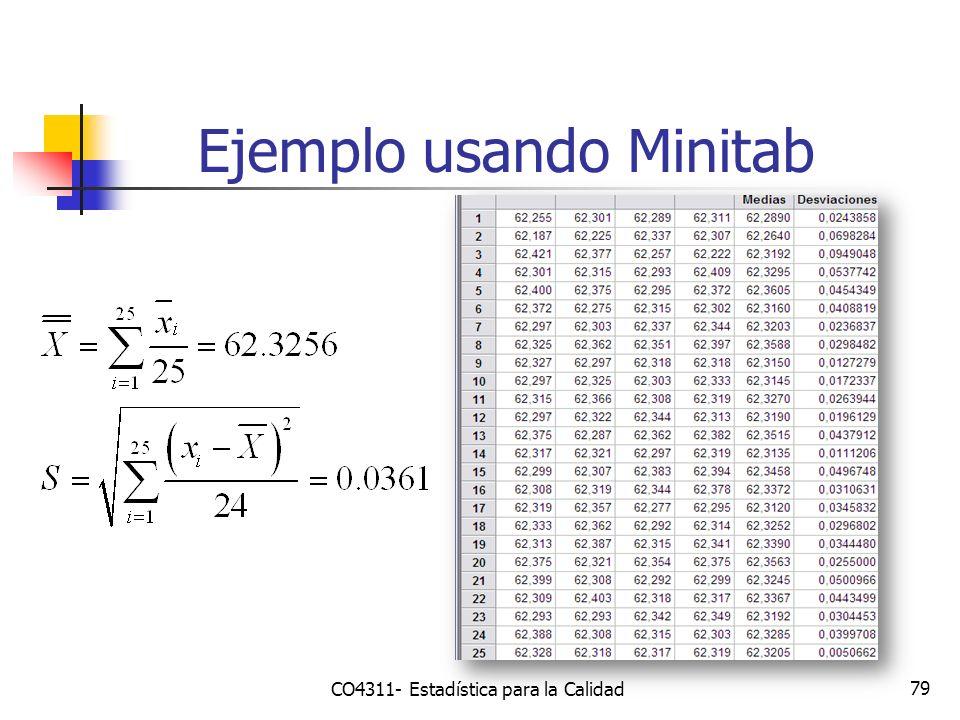 79 Ejemplo usando Minitab CO4311- Estadística para la Calidad