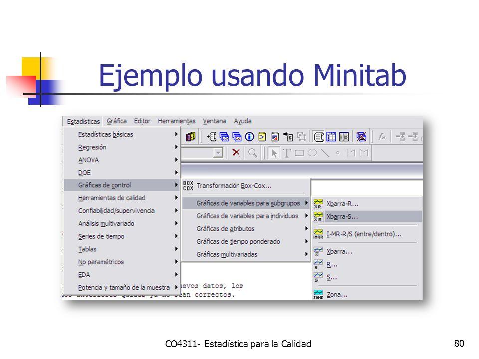 80 Ejemplo usando Minitab CO4311- Estadística para la Calidad