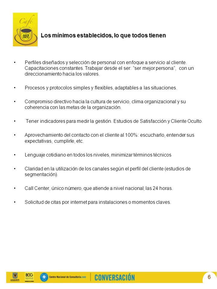 6 Los mínimos establecidos, lo que todos tienen Perfiles diseñados y selección de personal con enfoque a servicio al cliente.