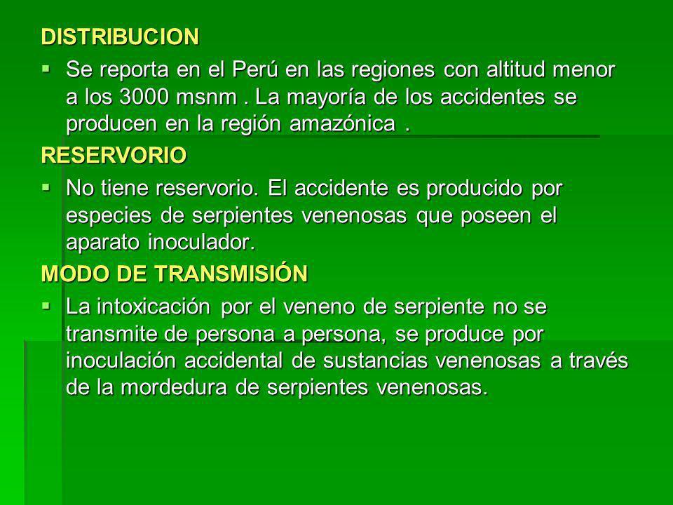 DISTRIBUCION Se reporta en el Perú en las regiones con altitud menor a los 3000 msnm. La mayoría de los accidentes se producen en la región amazónica.