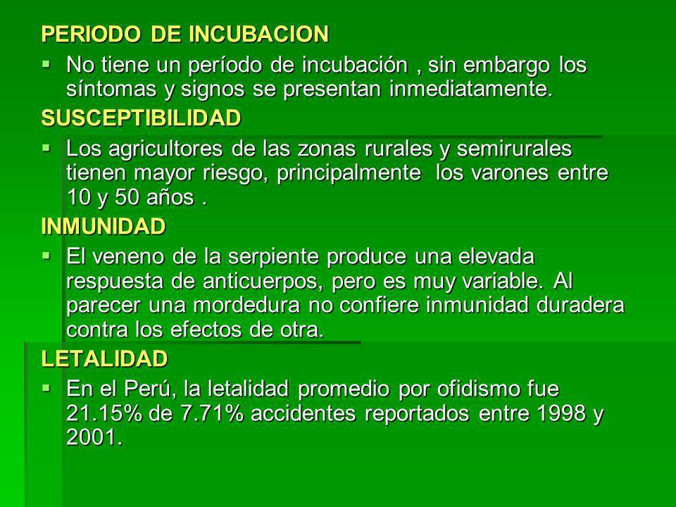 PERIODO DE INCUBACION No tiene un período de incubación, sin embargo los síntomas y signos se presentan inmediatamente. No tiene un período de incubac