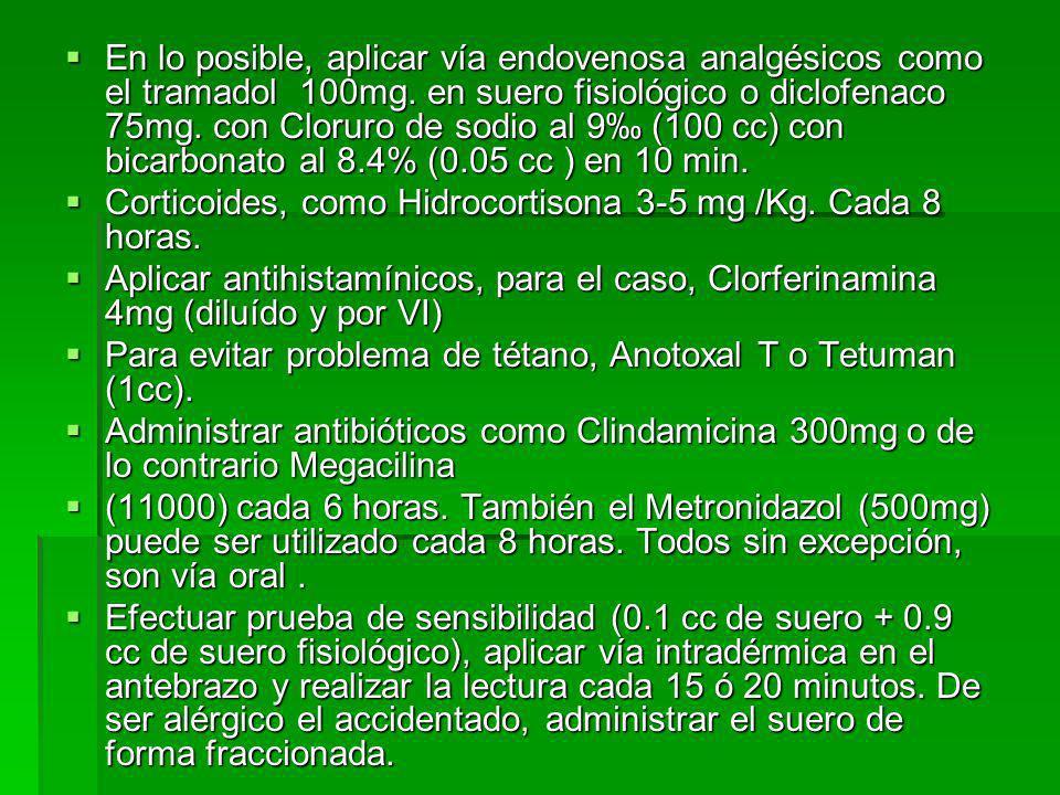 En lo posible, aplicar vía endovenosa analgésicos como el tramadol 100mg. en suero fisiológico o diclofenaco 75mg. con Cloruro de sodio al 9 (100 cc)