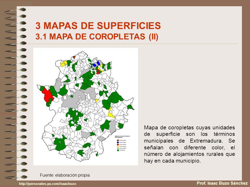 Fuente: elaboración propia Mapa de coropletas cuyas unidades de superficie son los términos municipales de Extremadura. Se señalan con diferente color