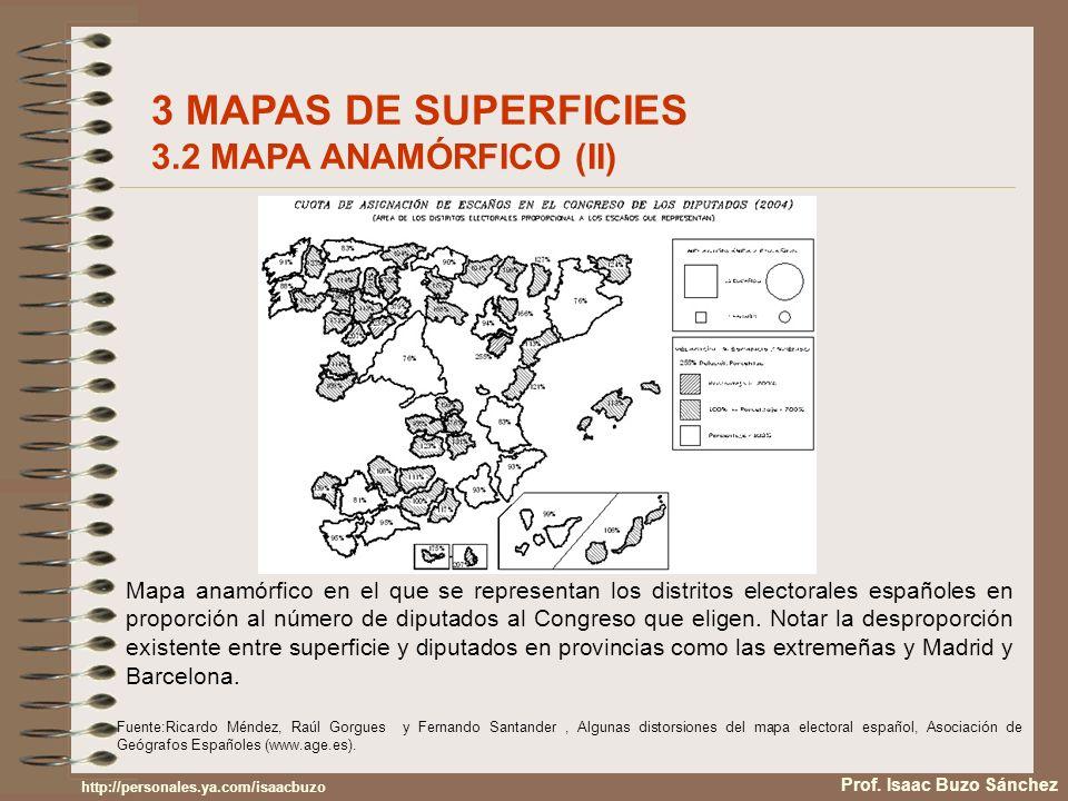 Mapa anamórfico en el que se representan los distritos electorales españoles en proporción al número de diputados al Congreso que eligen. Notar la des