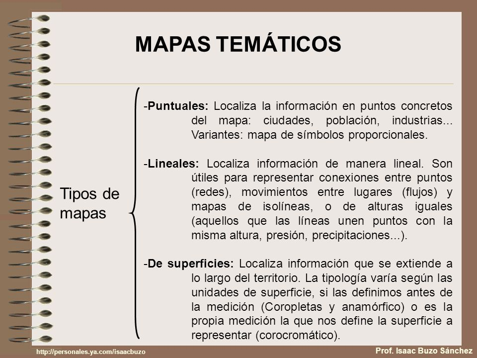 Tipos de mapas -Puntuales: Localiza la información en puntos concretos del mapa: ciudades, población, industrias... Variantes: mapa de símbolos propor