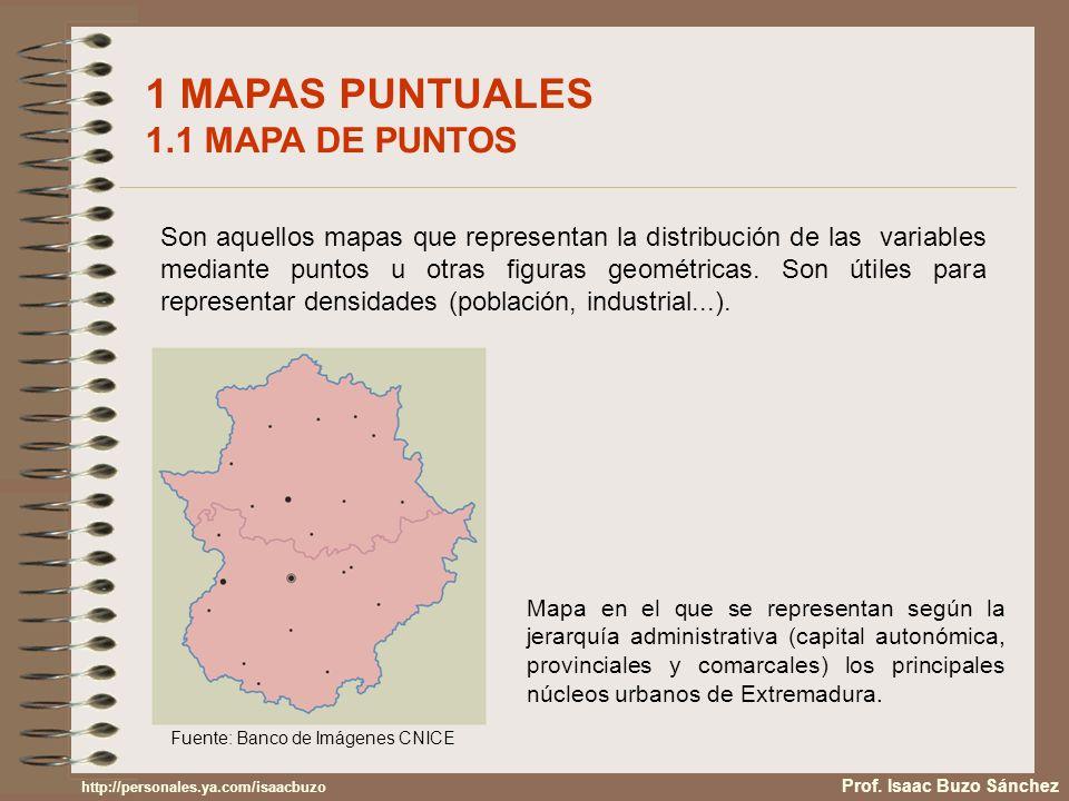 1 MAPAS PUNTUALES 1.1 MAPA DE PUNTOS (II) Mapa de puntos en el que se localizan los principales asentamientos industriales en países desarrollados y en vías de desarrollo.