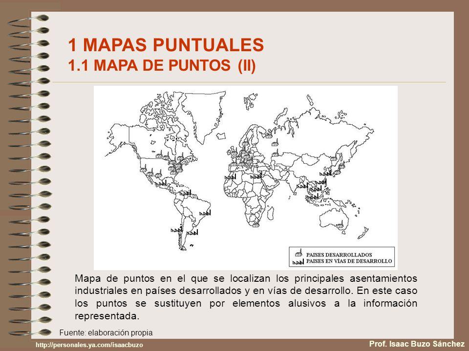 1 MAPAS PUNTUALES 1.2 MAPA DE SÍMBOLOS PROPORCIONALES Son una variedad del mapa de puntos consistente en representar el tamaño de los puntos u otras figuras geométricas proporcional al del fenómeno representado.