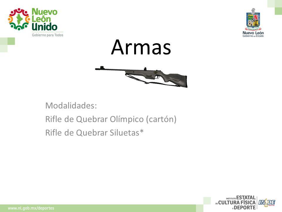 Armas Modalidades: Rifle de Quebrar Olímpico (cartón) Rifle de Quebrar Siluetas* 10