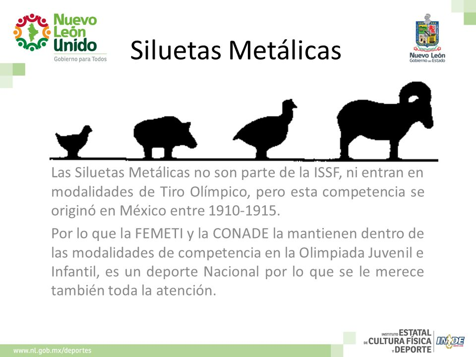 Siluetas Metálicas Las Siluetas Metálicas no son parte de la ISSF, ni entran en modalidades de Tiro Olímpico, pero esta competencia se originó en Méxi