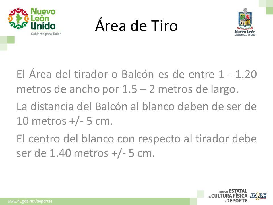 Área de Tiro El Área del tirador o Balcón es de entre 1 - 1.20 metros de ancho por 1.5 – 2 metros de largo. La distancia del Balcón al blanco deben de