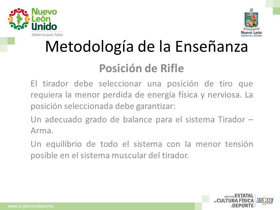 Metodología de la Enseñanza Posición de Rifle El tirador debe seleccionar una posición de tiro que requiera la menor perdida de energía física y nervi