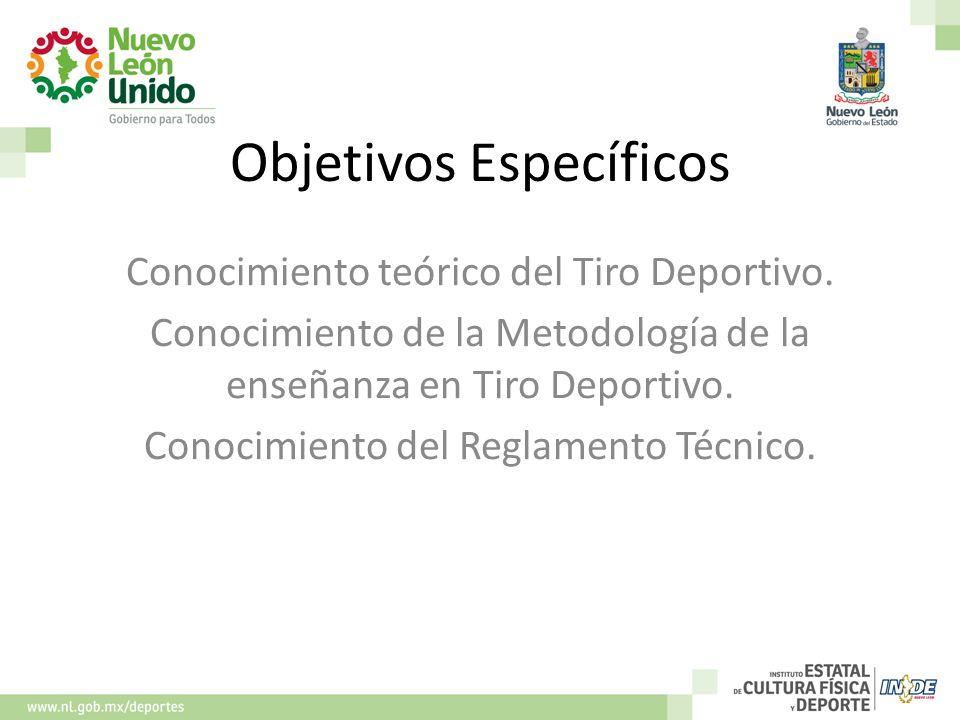 Objetivos Específicos Conocimiento teórico del Tiro Deportivo. Conocimiento de la Metodología de la enseñanza en Tiro Deportivo. Conocimiento del Regl