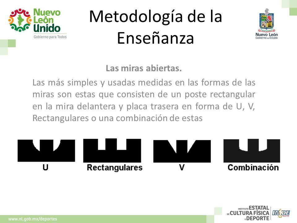 Metodología de la Enseñanza Las miras abiertas. Las más simples y usadas medidas en las formas de las miras son estas que consisten de un poste rectan