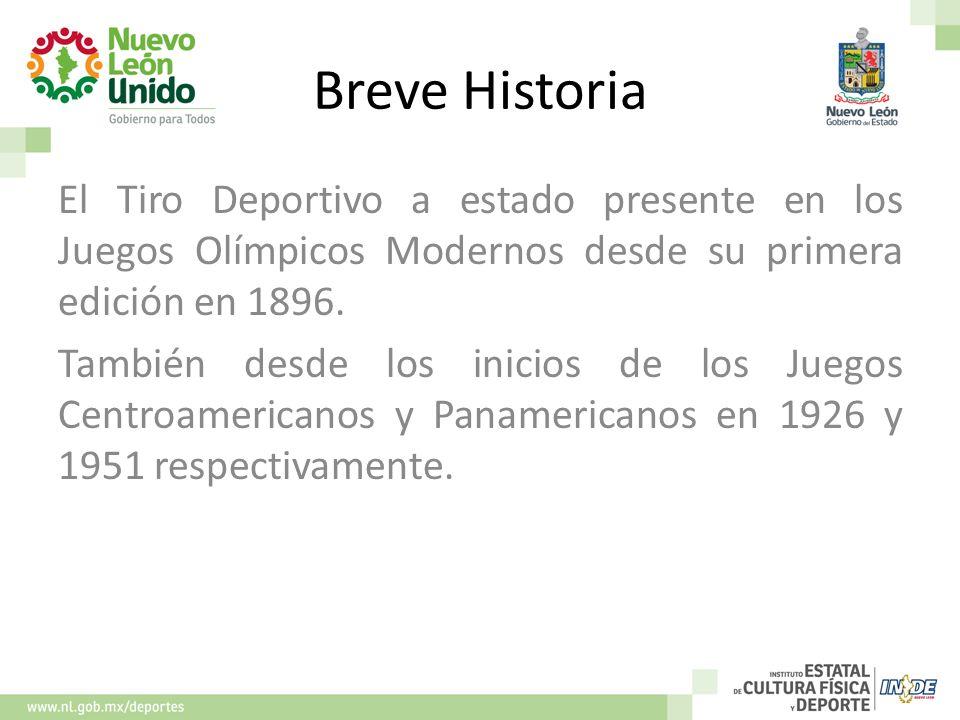 Breve Historia El Tiro Deportivo a estado presente en los Juegos Olímpicos Modernos desde su primera edición en 1896. También desde los inicios de los
