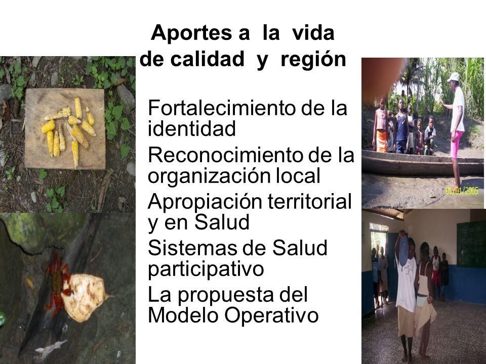 Aportes a la vida de calidad y región Fortalecimiento de la identidad Reconocimiento de la organización local Apropiación territorial y en Salud Sistemas de Salud participativo La propuesta del Modelo Operativo