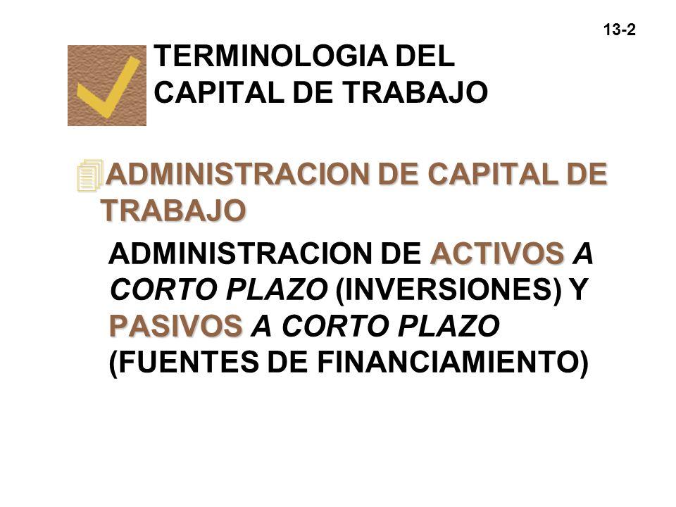 13-2 TERMINOLOGIA DEL CAPITAL DE TRABAJO 4 ADMINISTRACION DE CAPITAL DE TRABAJO ACTIVOS PASIVOS ADMINISTRACION DE ACTIVOS A CORTO PLAZO (INVERSIONES)