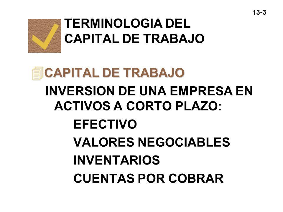 13-4 4 CAPITAL DE TRABAJO NETO =ACTIVOS CIRCULANTES - PASIVOS CIRCULANTES =CANTIDAD DE ACTIVOS CIRCULANTES FINANCIADOS CON PASIVOS A LARGO PLAZO TERMINOLOGIA DEL CAPITAL DE TRABAJO