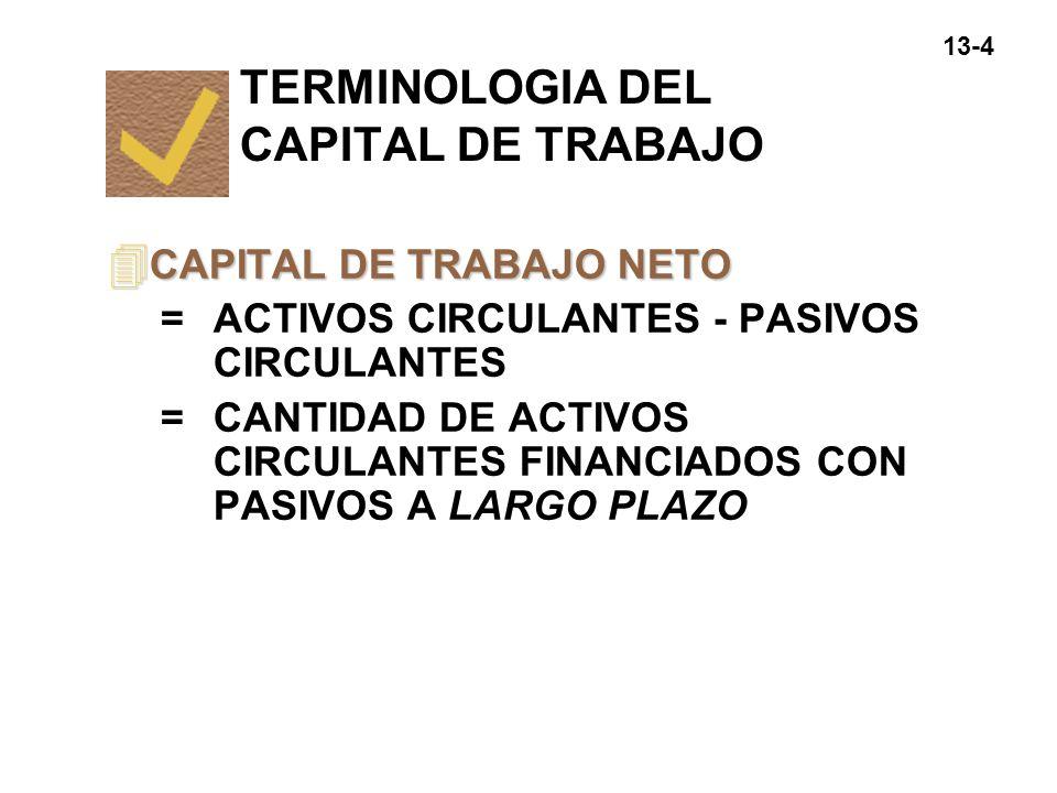 13-4 4 CAPITAL DE TRABAJO NETO =ACTIVOS CIRCULANTES - PASIVOS CIRCULANTES =CANTIDAD DE ACTIVOS CIRCULANTES FINANCIADOS CON PASIVOS A LARGO PLAZO TERMI