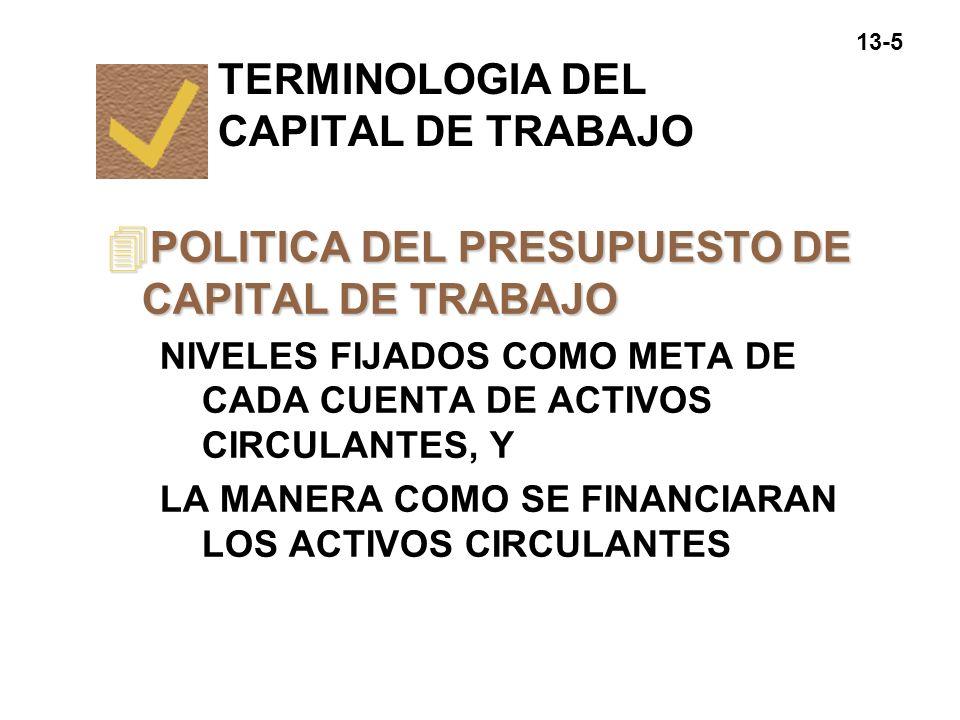 13-16 èPOLITICA RELAJADA DE INVERSION EN ACTIVOS CIRCULANTES CANTIDADES RELATIVAMENTE GRANDES DE EFECTIVO, VALORES NEGOCIABLES E INVENTARIOS Y DONDE LAS VENTAS SON ESTIMULADAS CON UNA POLITICA DE CREDITO LIBERAL QUE DA UN ALTO NIVEL DE CUENTAS POR COBRAR POLITICAS DE INVERSION Y FINANCIAMIENTO DEL CAPITAL DE TRABAJO