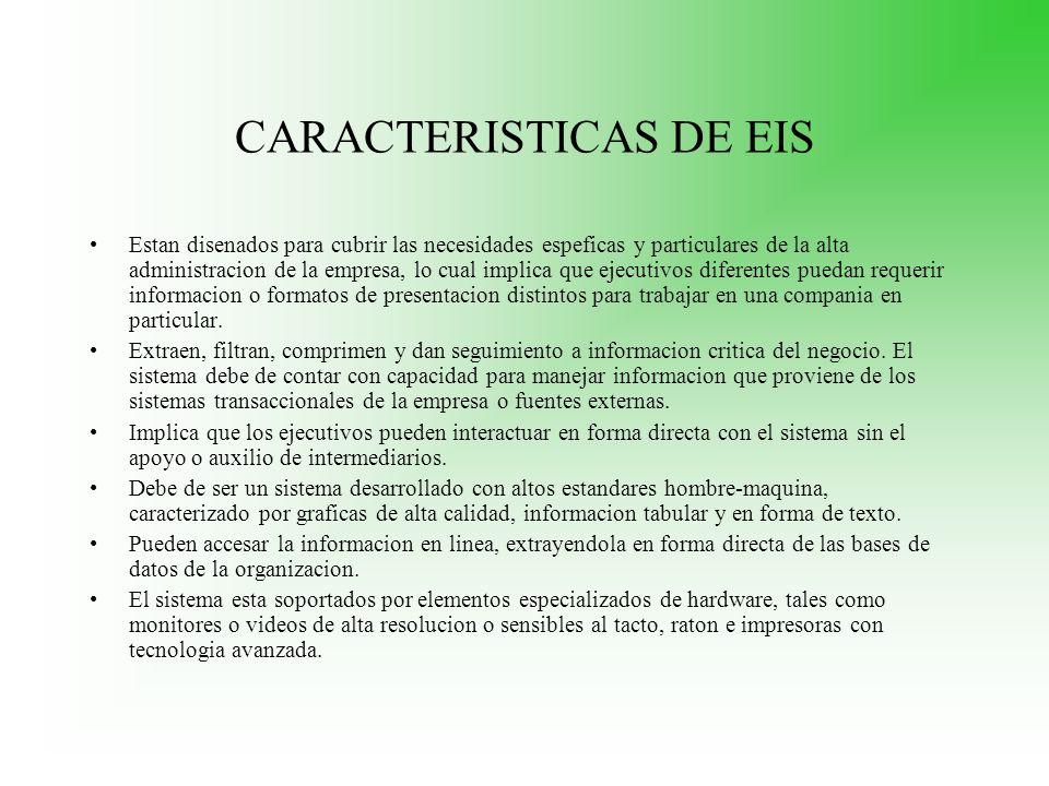 CARACTERISTICAS DE EIS Estan disenados para cubrir las necesidades espeficas y particulares de la alta administracion de la empresa, lo cual implica q
