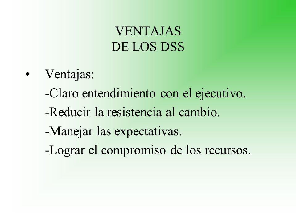 VENTAJAS DE LOS DSS Ventajas: -Claro entendimiento con el ejecutivo. -Reducir la resistencia al cambio. -Manejar las expectativas. -Lograr el compromi