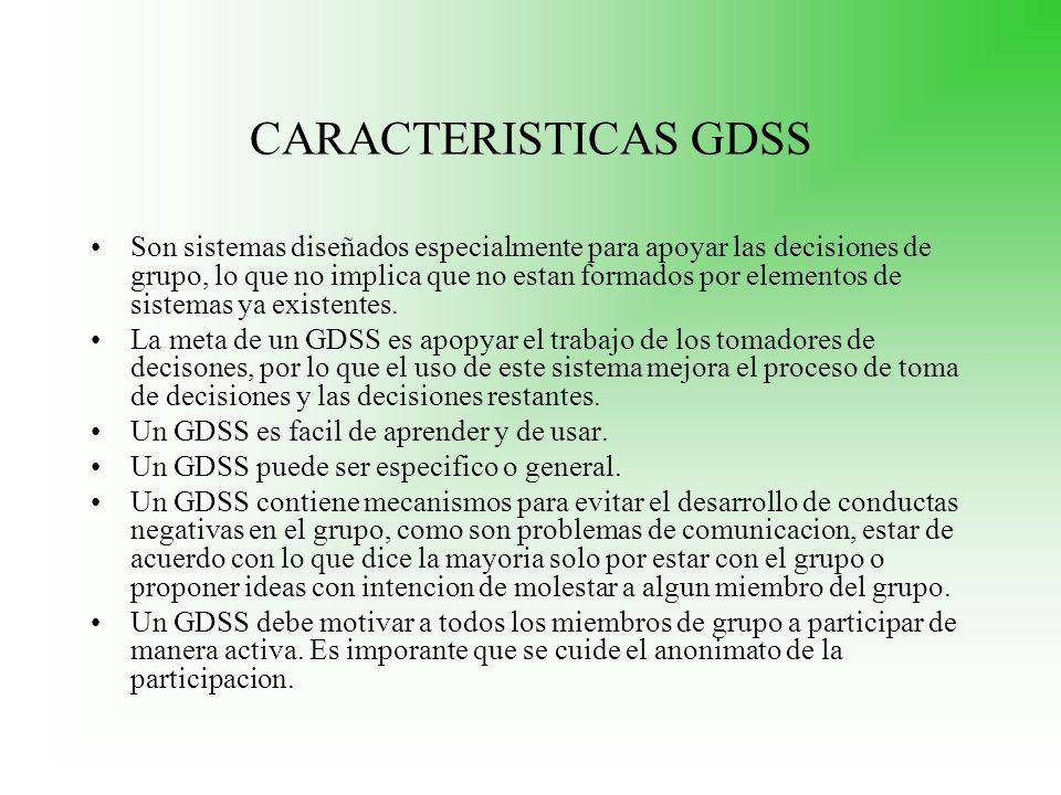 CARACTERISTICAS GDSS Son sistemas diseñados especialmente para apoyar las decisiones de grupo, lo que no implica que no estan formados por elementos d