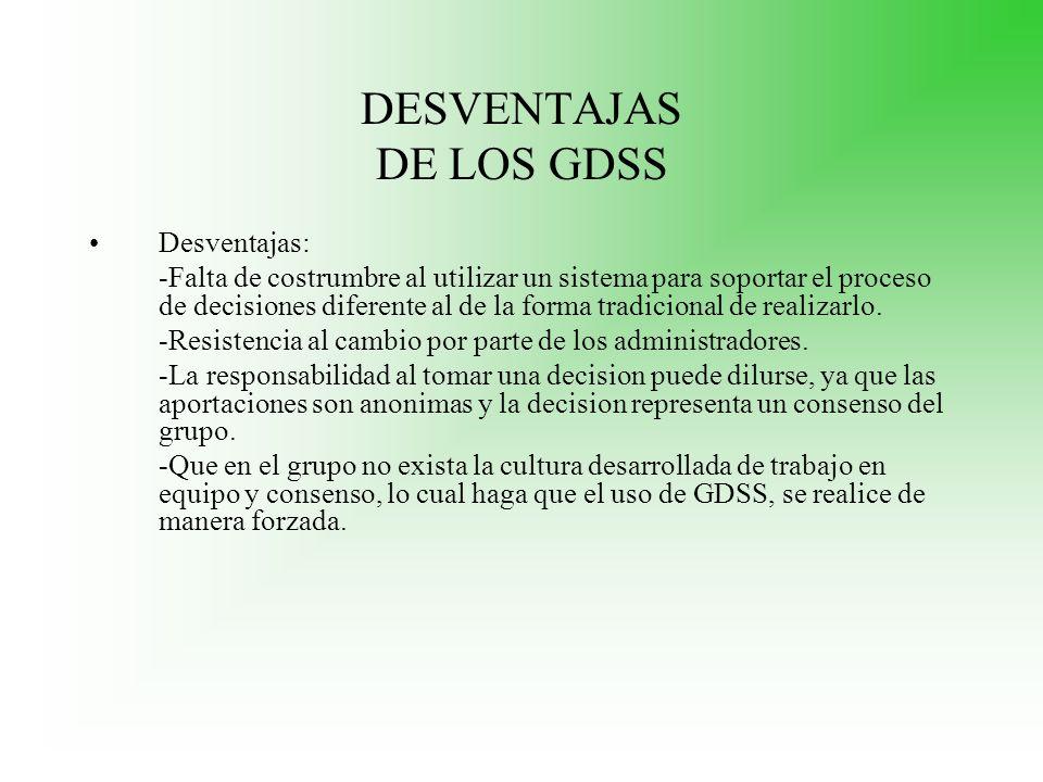 DESVENTAJAS DE LOS GDSS Desventajas: -Falta de costrumbre al utilizar un sistema para soportar el proceso de decisiones diferente al de la forma tradi
