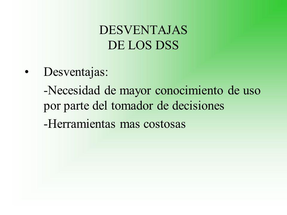 DESVENTAJAS DE LOS DSS Desventajas: -Necesidad de mayor conocimiento de uso por parte del tomador de decisiones -Herramientas mas costosas