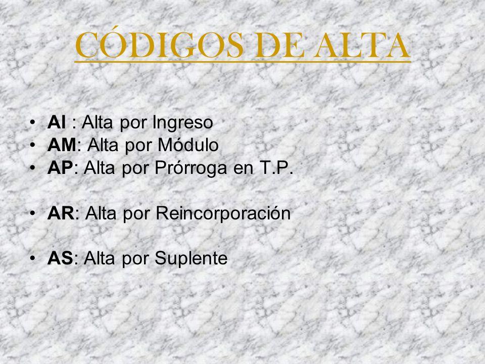 CÓDIGOS DE ALTA AI : Alta por Ingreso AM: Alta por Módulo AP: Alta por Prórroga en T.P. AR: Alta por Reincorporación AS: Alta por Suplente