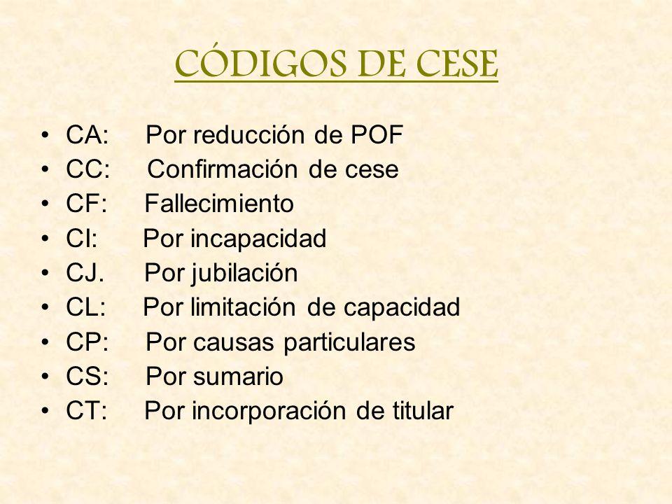 CÓDIGOS DE CESE CA: Por reducción de POF CC: Confirmación de cese CF: Fallecimiento CI: Por incapacidad CJ. Por jubilación CL: Por limitación de capac