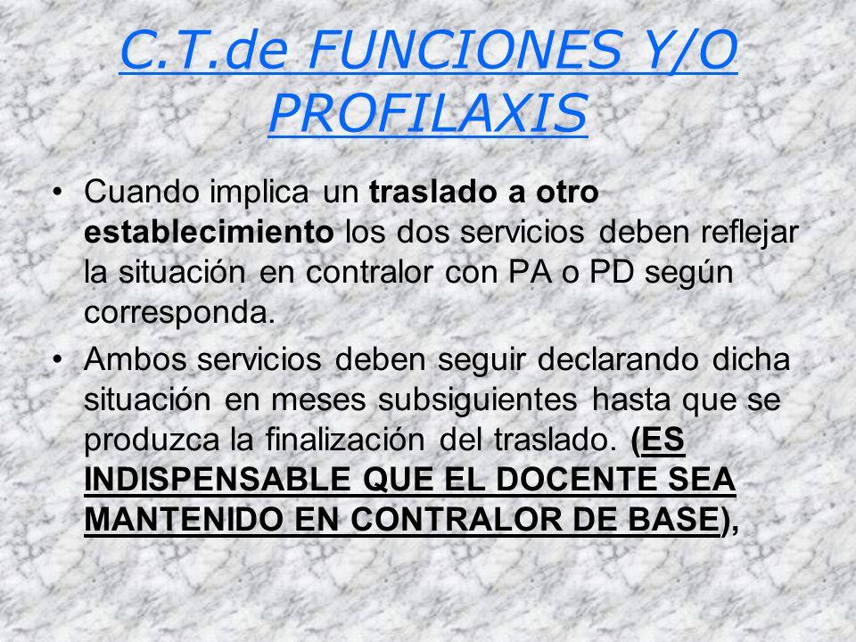 C.T.de FUNCIONES Y/O PROFILAXIS Cuando implica un traslado a otro establecimiento los dos servicios deben reflejar la situación en contralor con PA o