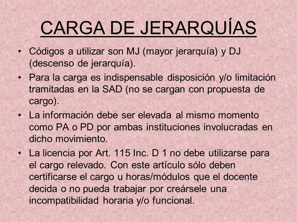 CARGA DE JERARQUÍAS Códigos a utilizar son MJ (mayor jerarquía) y DJ (descenso de jerarquía). Para la carga es indispensable disposición y/o limitació