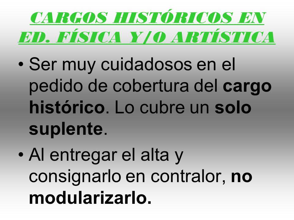 CARGOS HISTÓRICOS EN ED. FÍSICA Y/O ARTÍSTICA Ser muy cuidadosos en el pedido de cobertura del cargo histórico. Lo cubre un solo suplente. Al entregar