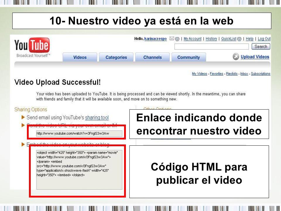10- Nuestro video ya está en la web Enlace indicando donde encontrar nuestro video Código HTML para publicar el video