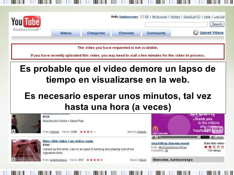 Es probable que el video demore un lapso de tiempo en visualizarse en la web. Es necesario esperar unos minutos, tal vez hasta una hora (a veces)