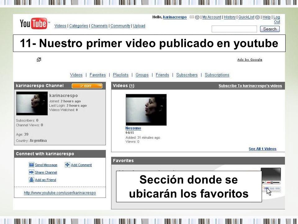 11- Nuestro primer video publicado en youtube Sección donde se ubicarán los favoritos