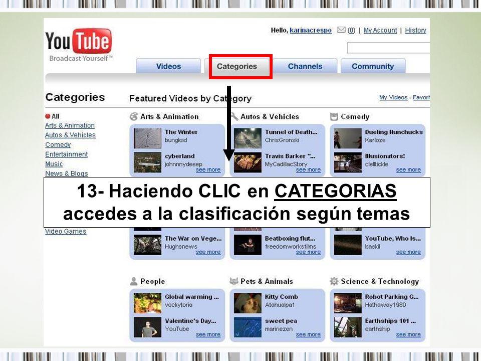 13- Haciendo CLIC en CATEGORIAS accedes a la clasificación según temas