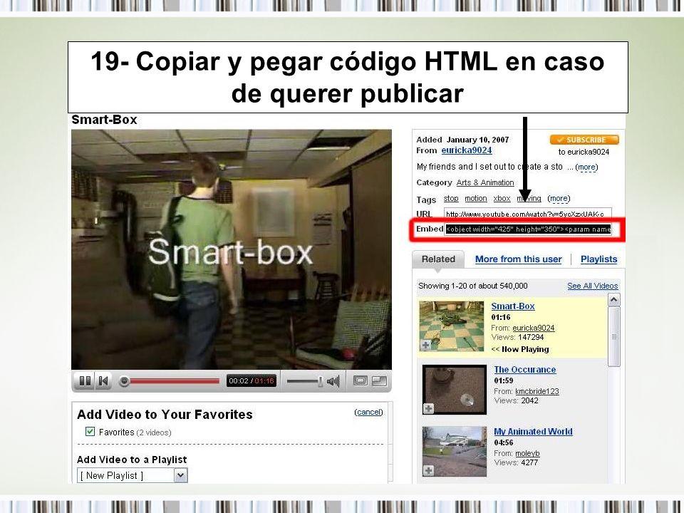 19- Copiar y pegar código HTML en caso de querer publicar