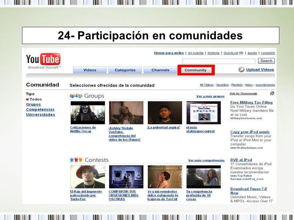 24- Participación en comunidades