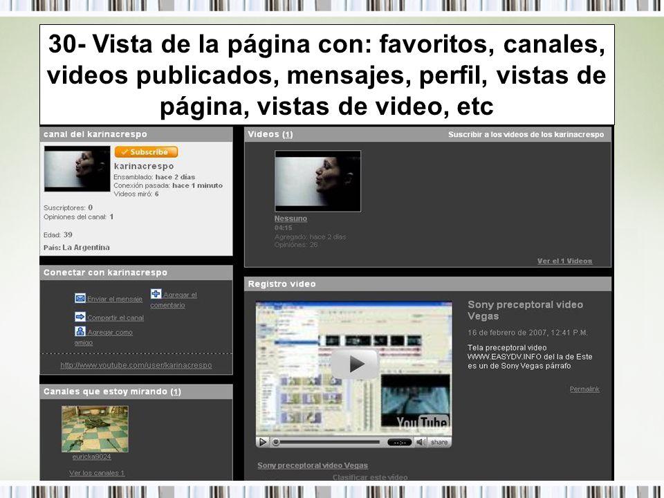 30- Vista de la página con: favoritos, canales, videos publicados, mensajes, perfil, vistas de página, vistas de video, etc