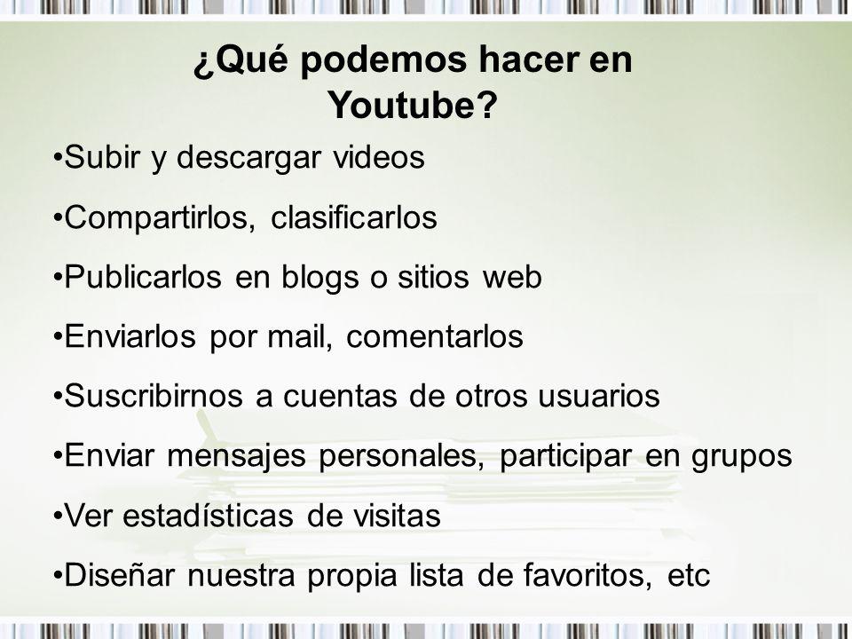 ¿Qué podemos hacer en Youtube? Subir y descargar videos Compartirlos, clasificarlos Publicarlos en blogs o sitios web Enviarlos por mail, comentarlos