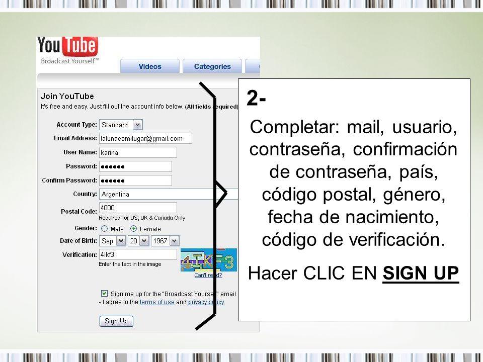 Completar: mail, usuario, contraseña, confirmación de contraseña, país, código postal, género, fecha de nacimiento, código de verificación. Hacer CLIC