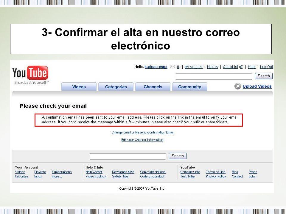 3- Confirmar el alta en nuestro correo electrónico