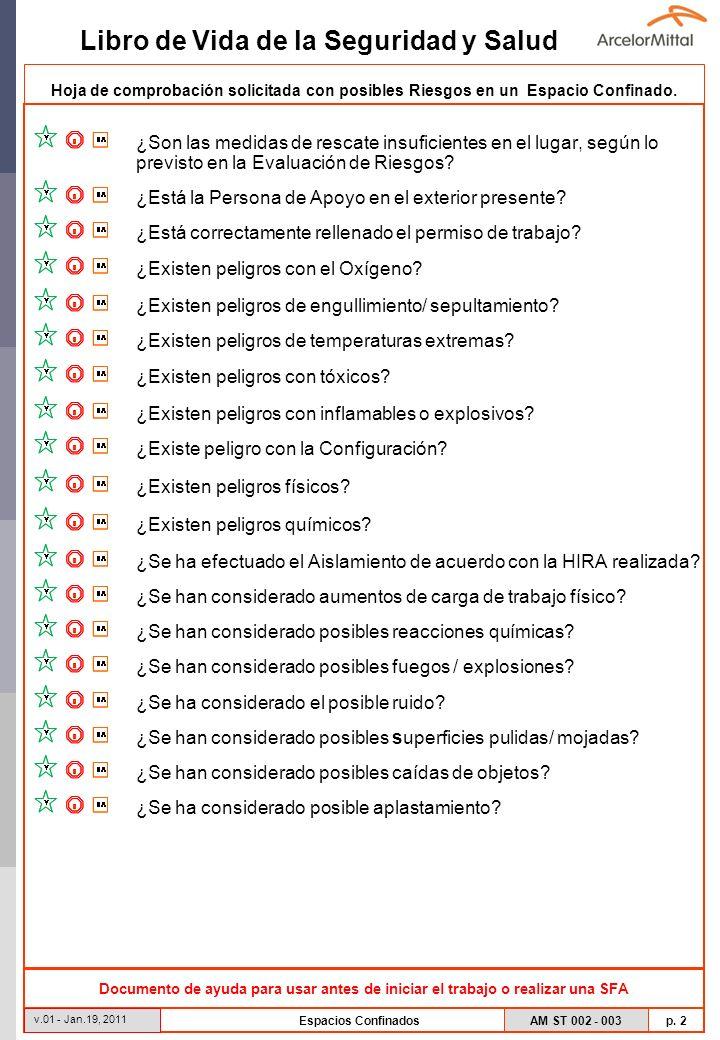 AM ST 002 - 003 p. 2 Libro de Vida de la Seguridad y Salud v.01 - Jan.19, 2011 Espacios Confinados Hoja de comprobación solicitada con posibles Riesgo