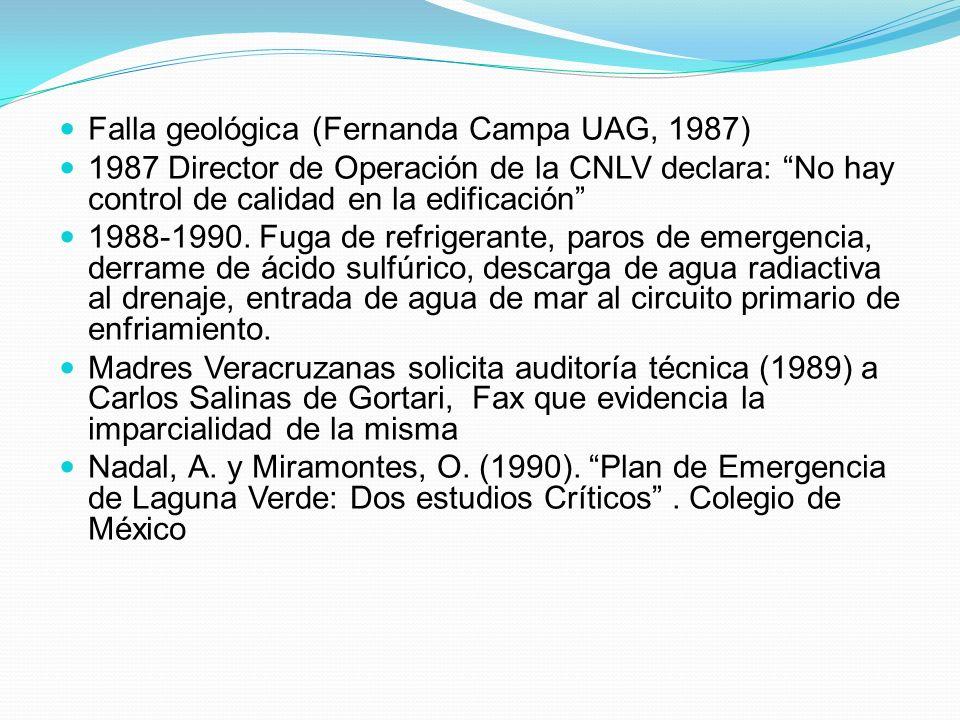 Falla geológica (Fernanda Campa UAG, 1987) 1987 Director de Operación de la CNLV declara: No hay control de calidad en la edificación 1988-1990. Fuga