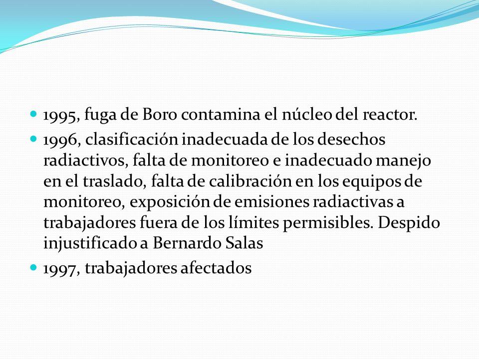 1995, fuga de Boro contamina el núcleo del reactor. 1996, clasificación inadecuada de los desechos radiactivos, falta de monitoreo e inadecuado manejo