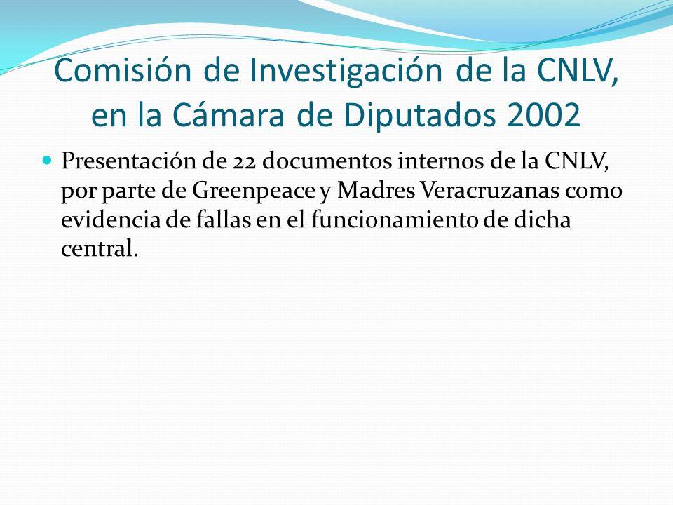 Comisión de Investigación de la CNLV, en la Cámara de Diputados 2002 Presentación de 22 documentos internos de la CNLV, por parte de Greenpeace y Madr